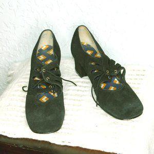 Vintage Connie Black Velvet Block Heels